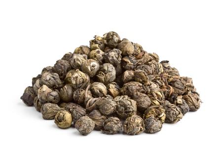 gunpowder tea: Elite Chinese tea Black Pearl isolated on white background Stock Photo