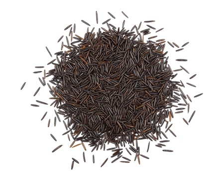 wild rice: Black rice isolated on white background  Top view