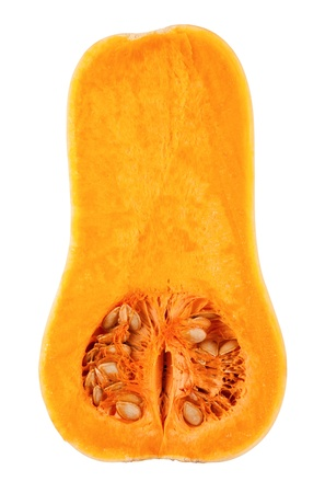 butternut squash: A slice of butternut squash isolated on white background