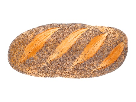 German loaf with poppy seeds isolated on white background Stock Photo