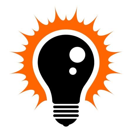 Idea  Simplified illustration of a glowing light bulb Illustration