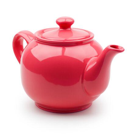 Red teapot closeup  Isolation on white