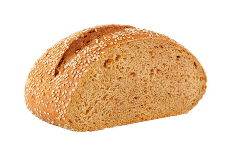 A loaf of fresh homemade bread with sesame seeds  Isolation on white photo