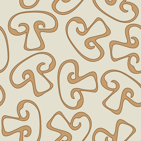 champignon: Seamless pattern with sketchy champignons Illustration