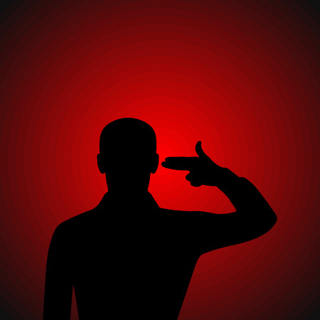 Silhouette of a man put an imaginary gun to his head Vector