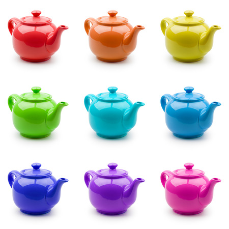 Set of nine colorful teapots for your design  Isolation on white photo