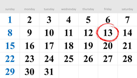 13th: Thirteenth circled in red on the calendar