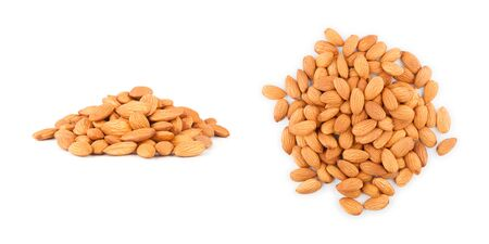 A handful of almonds on white background side and top view