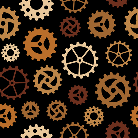 Seamless pattern with different cogwheels on black background Illustration