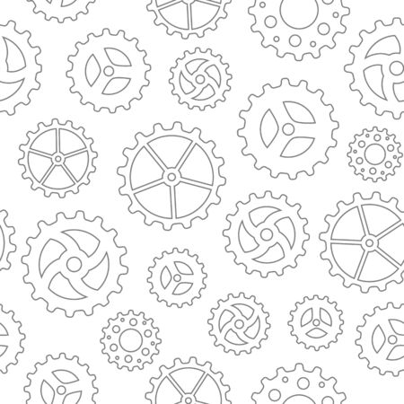 sketchy: Seamless pattern with many different sketchy gear wheels