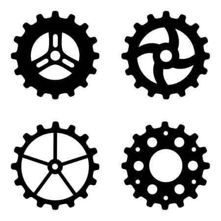 Four black sketchy gear wheels on white background Illustration