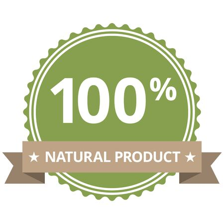 Green label or sticker with text 100 NATURAL PRODUCT Illustration