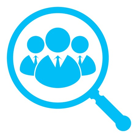 find a job: Simple icon depicting the search for valuable employees, highly skilled professionals, etc.