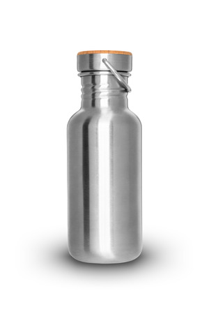 shiny metal background: Shiny metal bottle isolated on white background