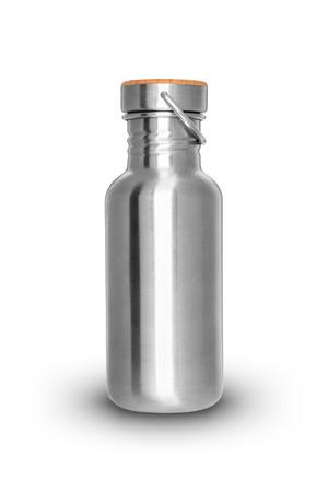 shiny metal background: Shiny metal bottle isolated on white background