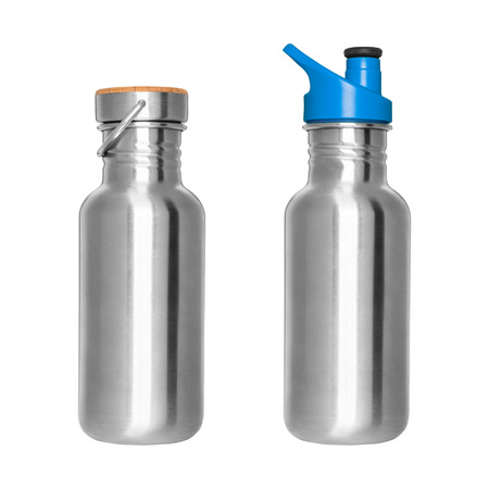 Stainless steel bottles isolated on white background Stock Photo