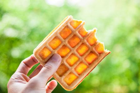 Hand holds the half-eaten Belgian waffle. Beautiful bokeh, shallow depth of field