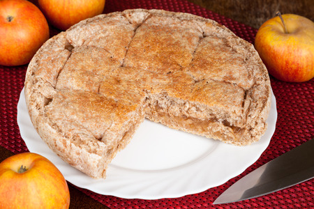 Homemade apple pie prepared with healthy whole wheat flour