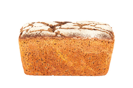 Rye-wheat pan bread closeup isolated on white background Stock Photo