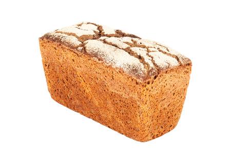 Rye-wheat tin bread closeup isolated on white background Stock Photo