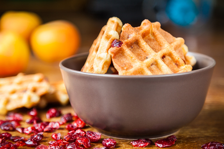 Delicious homemade shortbread waffles with dried cranberries in a brown ceramic bowl closeup. Selective focus, very shallow depth of field