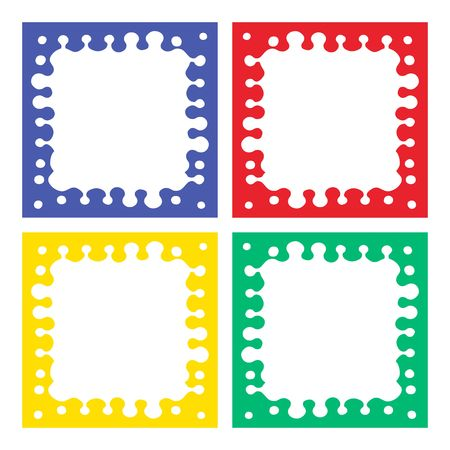 Color cuadros 4 piezas. azul, rojo, amarillo, verde Foto de archivo - 6543070