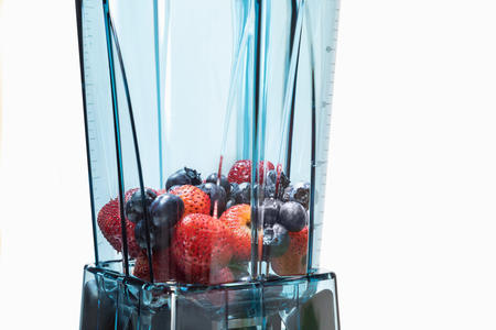 Berry smoothie. Ingredients  for berry smoothie in blender with