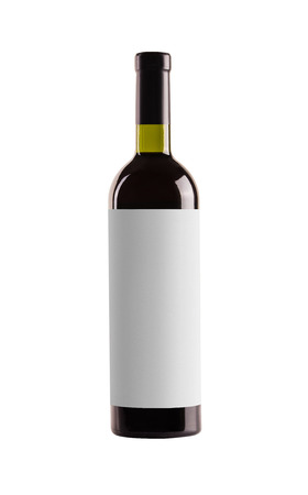 Red wine. Bottle of green glass with a blank white label on a white background. Banque d'images