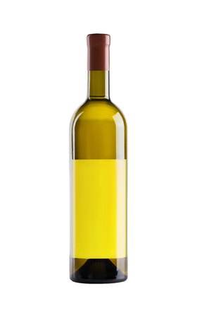 White wine. Bottle of yellow glass with a blank yellow label on a white background. Banque d'images