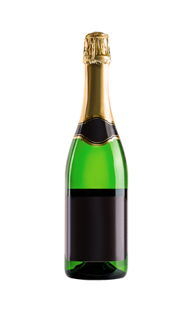 Champagne. Bottle of green glass with a blank black label on a white background.