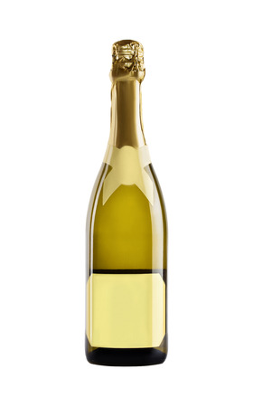 Champagne. Bottle of yellow glass with a blank yellow label on a white background.