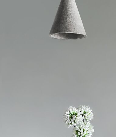 Modern lamp and white flowers on gray background.