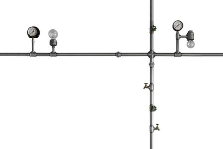 Iron pipes with lamps isolated on white background. Steampunk decor. Loft style.