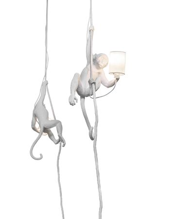 Pendant decorative lamps with white monkey isolated on white background.