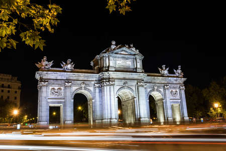monuments: madrid monuments at night Stock Photo