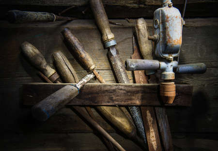 toolset: Oldand Rusty Wood Hardware - Wood Toolset Stock Photo