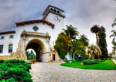 Historic courthouse entrance in Santa Barbara - California.