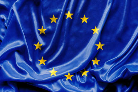 transnational: Waving Euro flag - fabric background, wallpapers, close-up