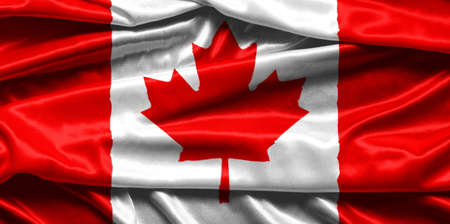 rippled: Closeup of rippled Canadian flag - fabric background