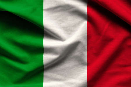 italia: italian flag - italy - fabric background, wallpapers, close-up Stock Photo