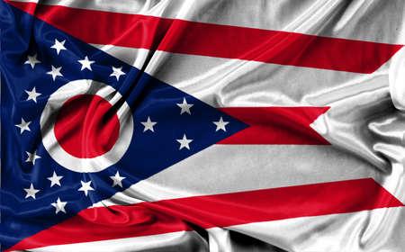 Ohio flag pattern on the fabric texture ,vintage style