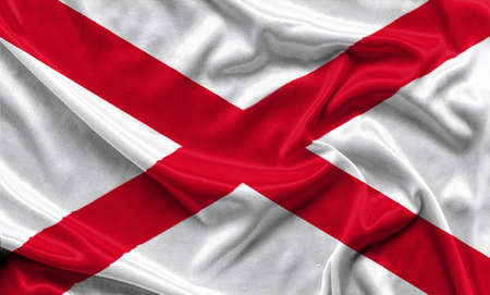Alabama Flag - Crumpled fabric background, wallpapers, close up Stock Photo