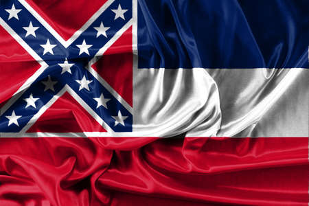 flag of Mississippi - fabric background, wallpapers, close-up Stock Photo