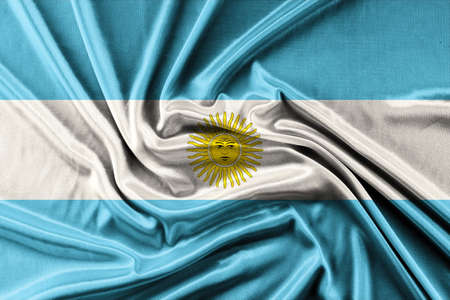 worn paper: Waving Argentina Flag - waving fabric background, wallpapers, close-up