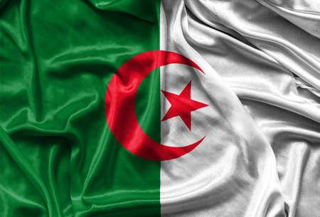 algerian: Closeup of silky Algerian flag - waving fabric background, wallpapers Stock Photo