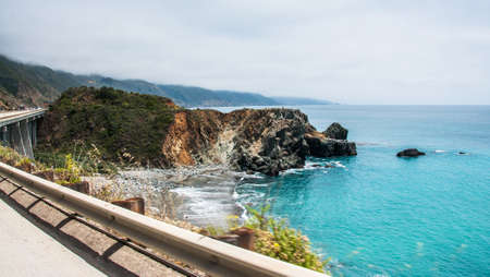 A Beautiful View of the California Coastline along State Road 1 -USA
