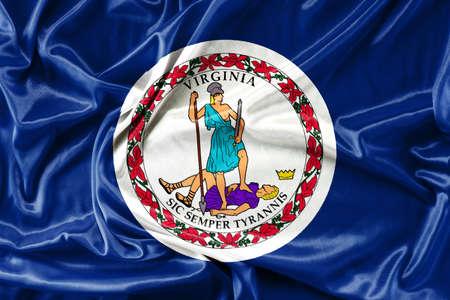 3d virginia: Waving Fabric Flag of Virginia Stock Photo