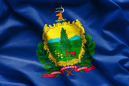 foreign national: Waving Fabric Flag of Vermont