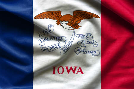 Waving Fabric Flag of Iowa