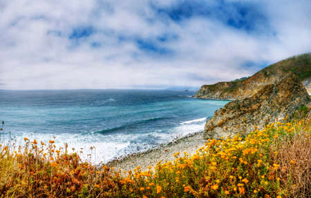 sur: A Beautiful View of the California Coastline along State Road 1 -USA